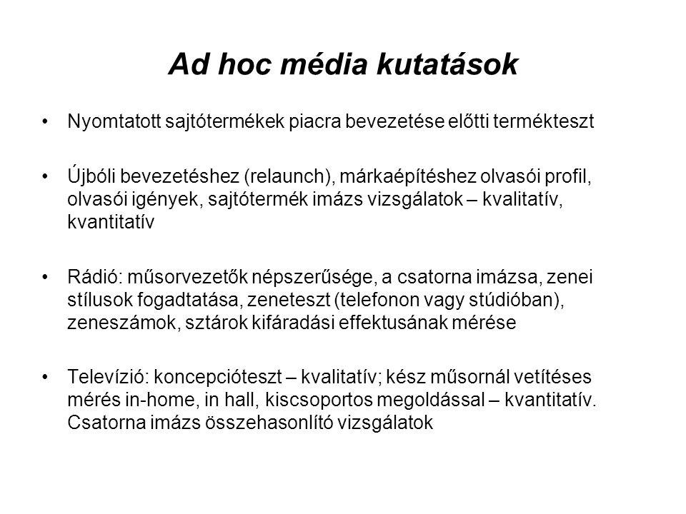 Ad hoc média kutatások •Nyomtatott sajtótermékek piacra bevezetése előtti termékteszt •Újbóli bevezetéshez (relaunch), márkaépítéshez olvasói profil,