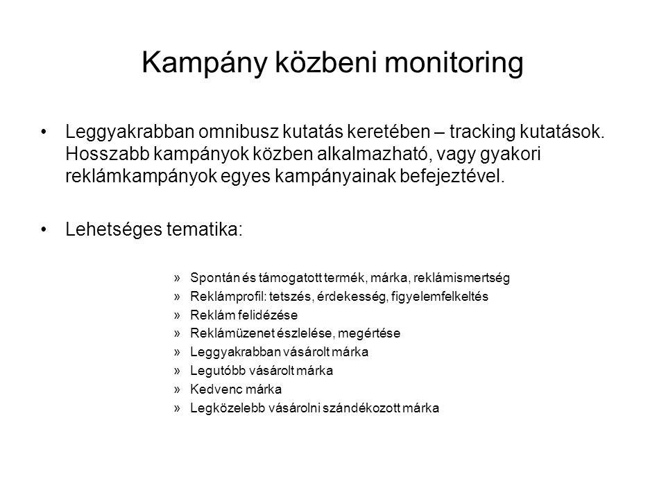 Kampány közbeni monitoring •Leggyakrabban omnibusz kutatás keretében – tracking kutatások. Hosszabb kampányok közben alkalmazható, vagy gyakori reklám