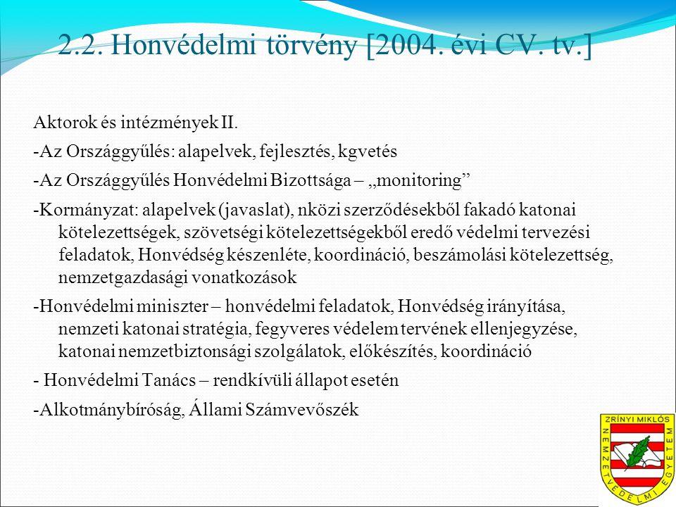 2.2. Honvédelmi törvény [2004. évi CV. tv.] Aktorok és intézmények II.