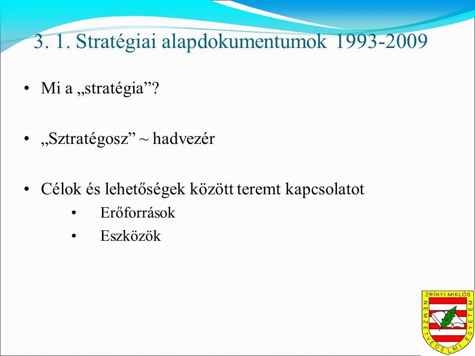 """3. 1. Stratégiai alapdokumentumok 1993-2009 •Mi a """"stratégia ."""