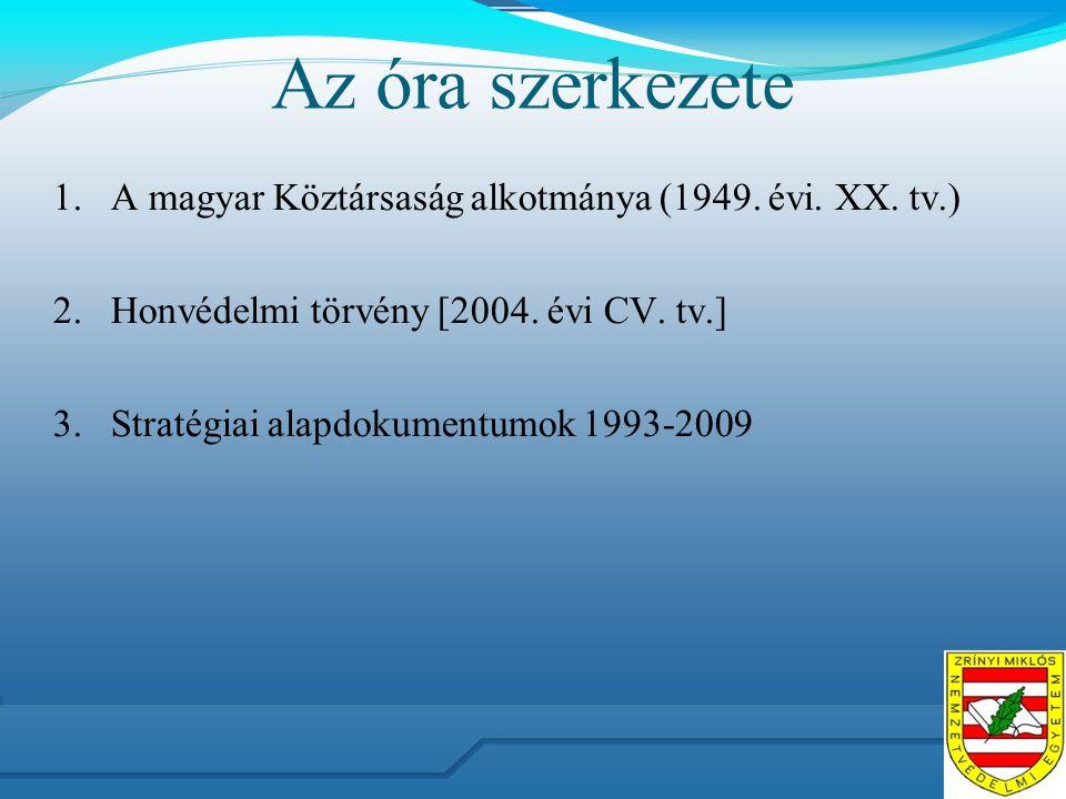 Az óra szerkezete 1.A magyar Köztársaság alkotmánya (1949.