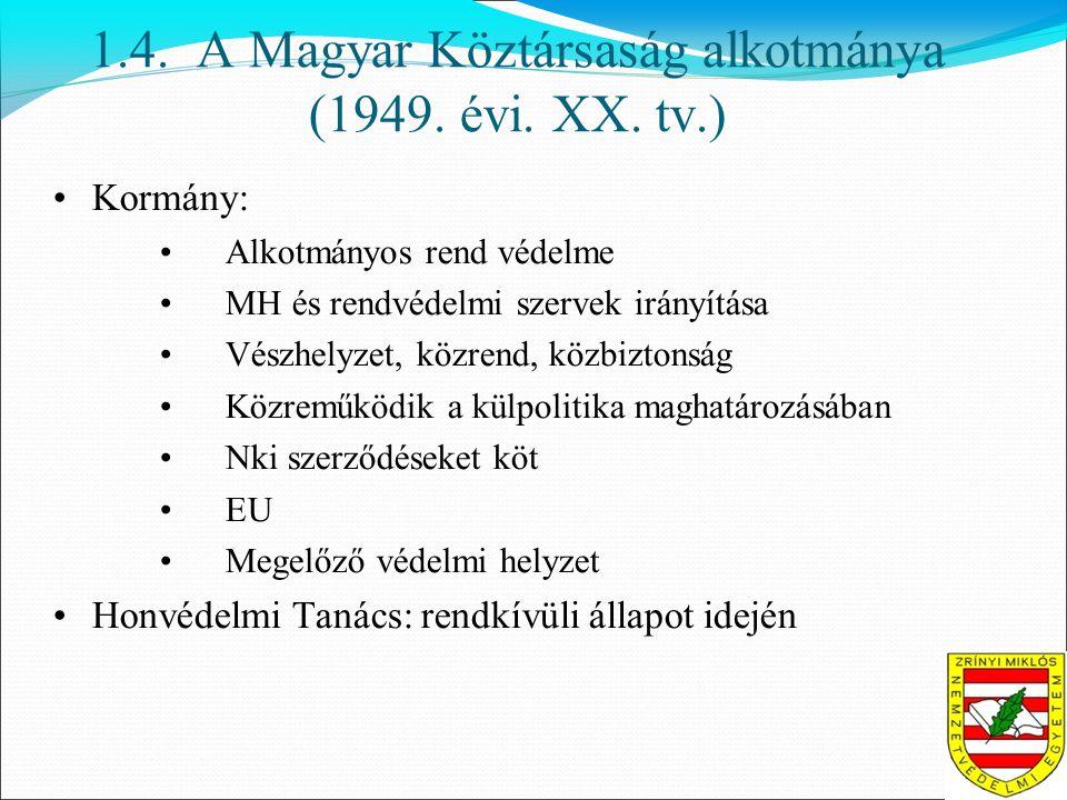 1.4. A Magyar Köztársaság alkotmánya (1949. évi.
