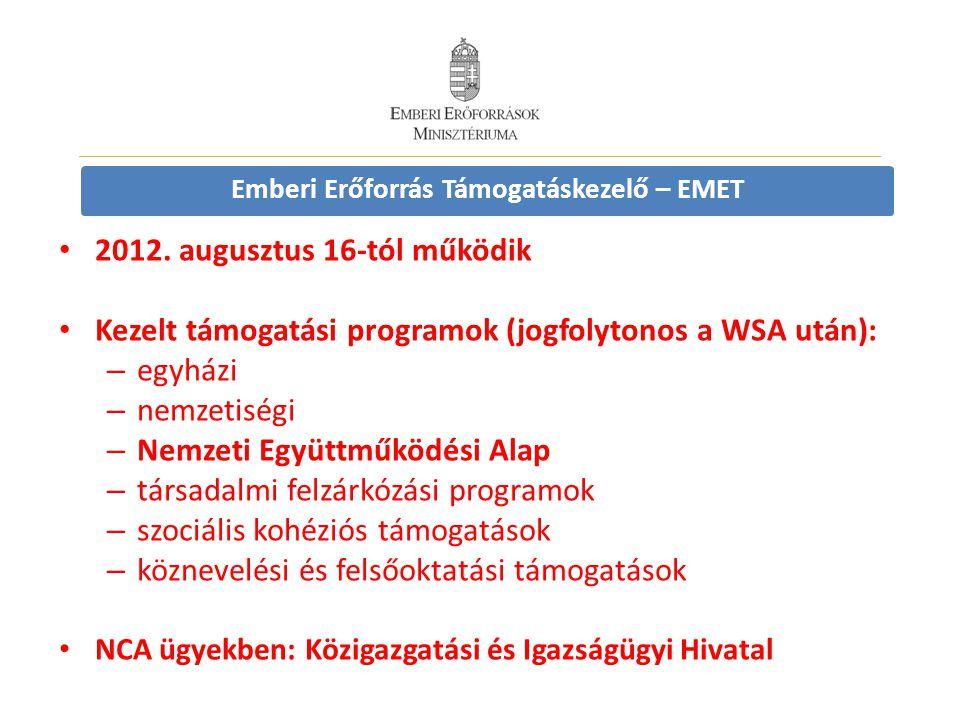 Emberi Erőforrás Támogatáskezelő – EMET • 2012. augusztus 16-tól működik • Kezelt támogatási programok (jogfolytonos a WSA után): – egyházi – nemzetis