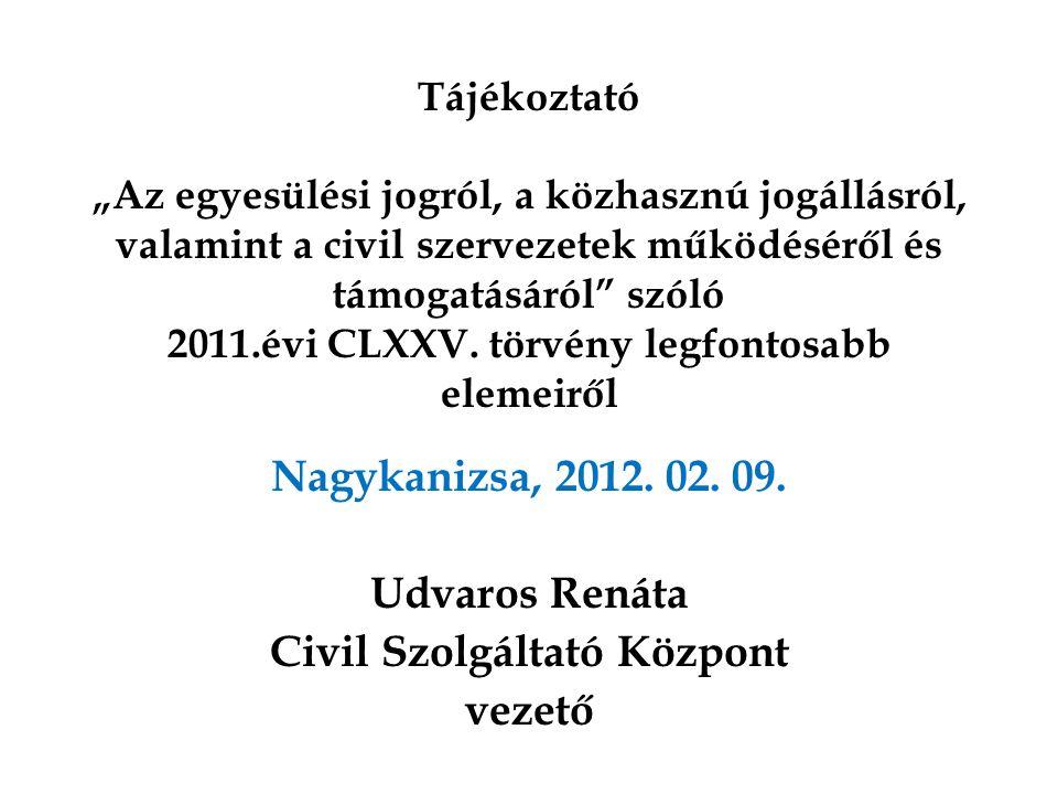 """Tájékoztató """"Az egyesülési jogról, a közhasznú jogállásról, valamint a civil szervezetek működéséről és támogatásáról"""" szóló 2011.évi CLXXV. törvény l"""