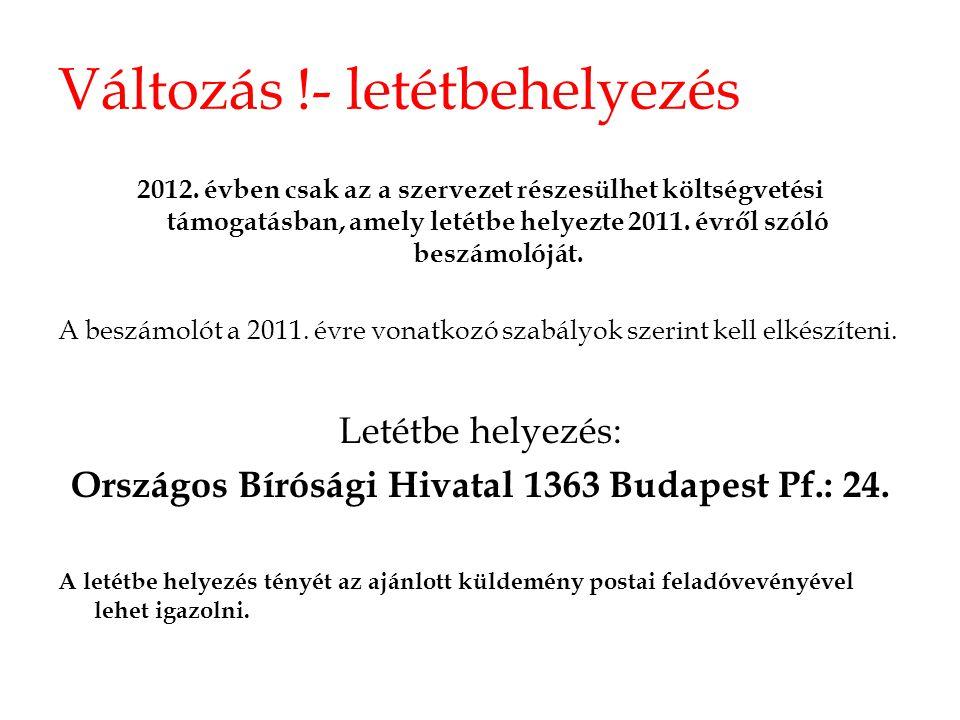 Változás !- letétbehelyezés 2012. évben csak az a szervezet részesülhet költségvetési támogatásban, amely letétbe helyezte 2011. évről szóló beszámoló