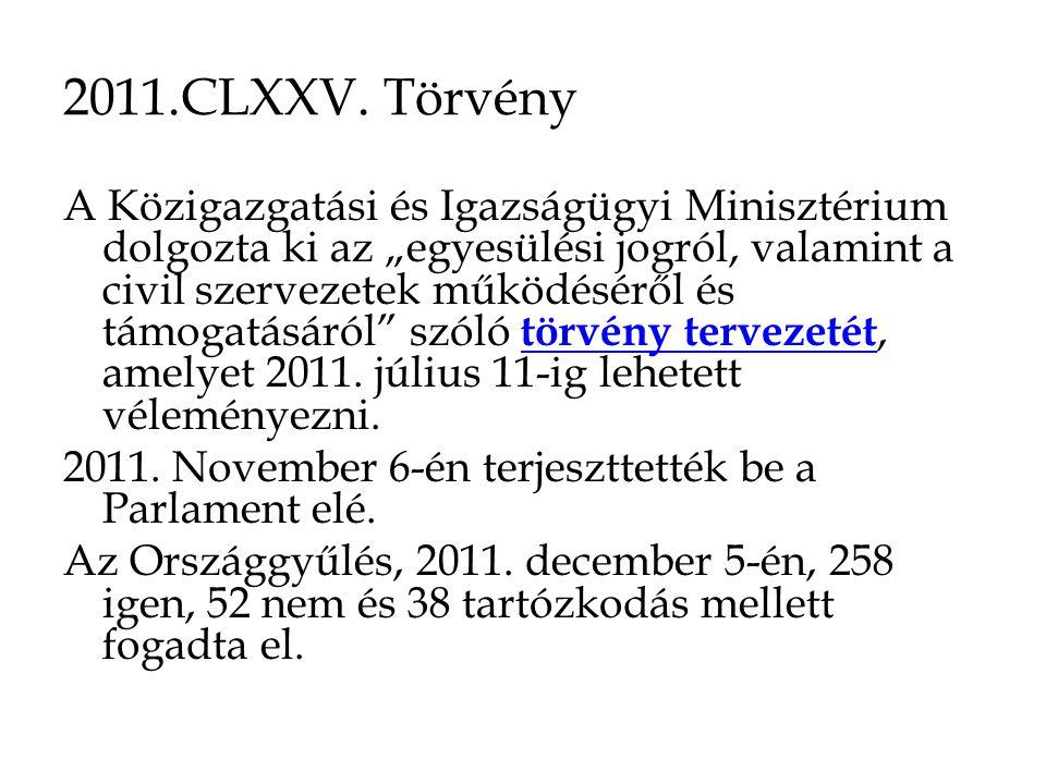"""2011.CLXXV. Törvény A Közigazgatási és Igazságügyi Minisztérium dolgozta ki az """"egyesülési jogról, valamint a civil szervezetek működéséről és támogat"""