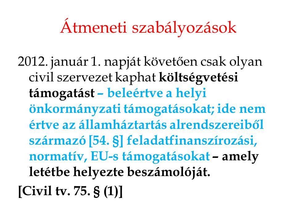 Átmeneti szabályozások 2012. január 1. napját követően csak olyan civil szervezet kaphat költségvetési támogatást – beleértve a helyi önkormányzati tá