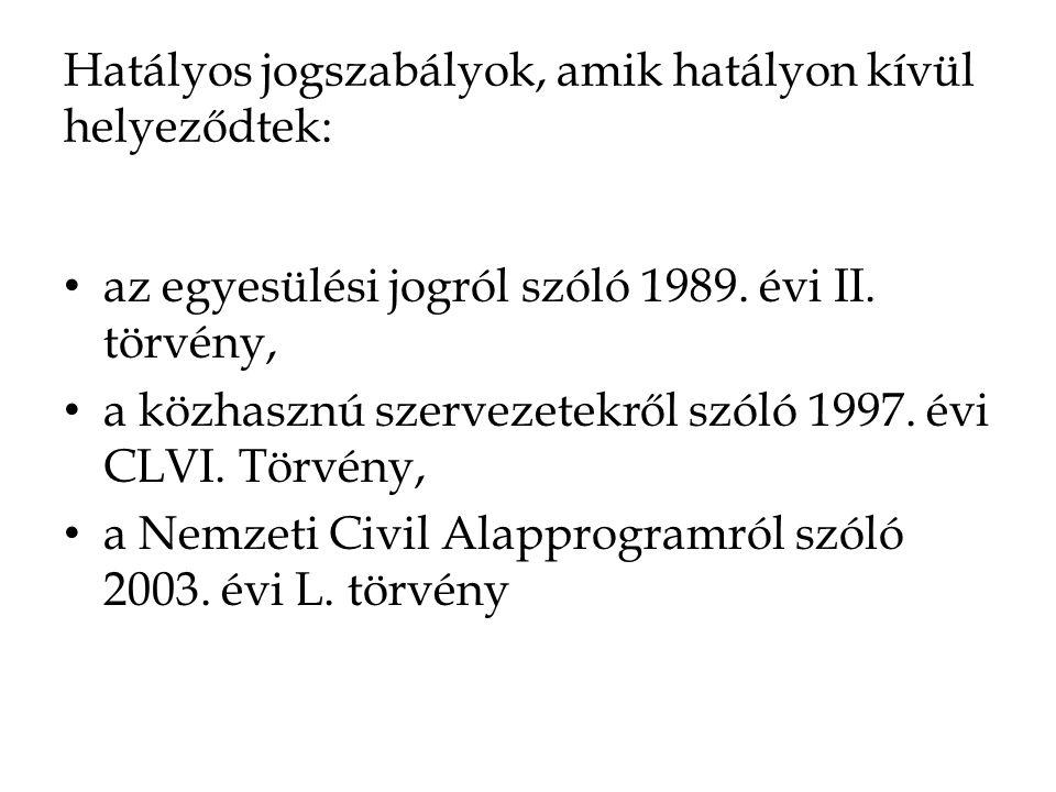 Hatályos jogszabályok, amik hatályon kívül helyeződtek: • az egyesülési jogról szóló 1989. évi II. törvény, • a közhasznú szervezetekről szóló 1997. é