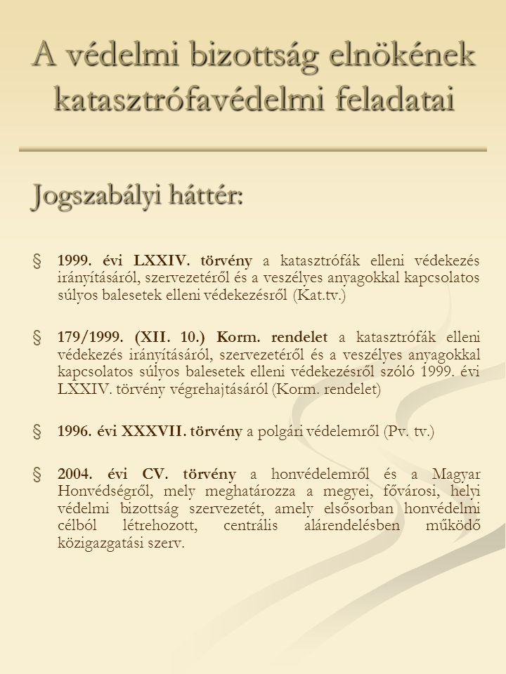 A védelmi bizottság elnökének katasztrófavédelmi feladatai Jogszabályi háttér: § §1999.