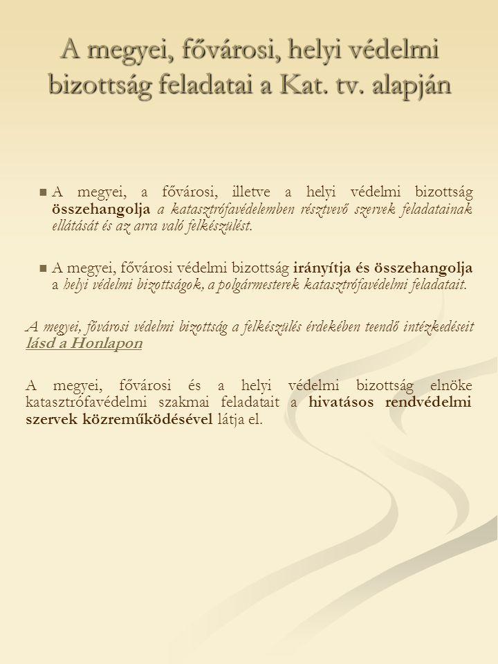 A megyei, fővárosi, helyi védelmi bizottság feladatai a Kat.