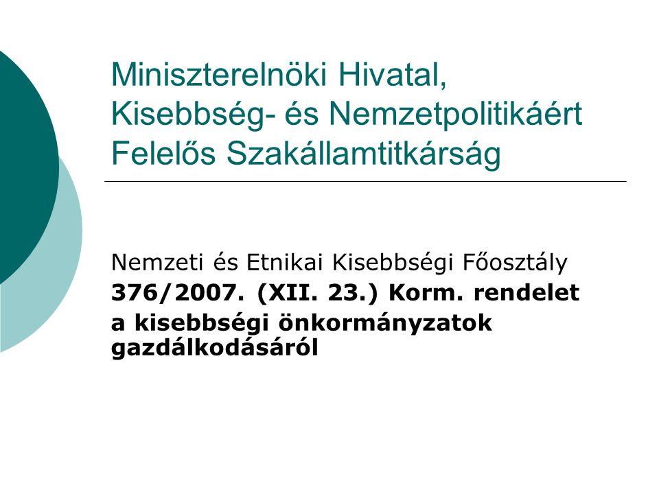 A kisebbségi önkormányzatok gazdálkodásáról szóló kormányrendeletről Előzmények: • A Nek.