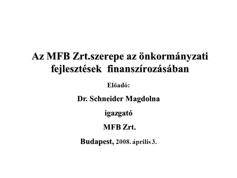 Az MFB Zrt.szerepe az önkormányzati fejlesztések finanszírozásában Előadó: Dr.