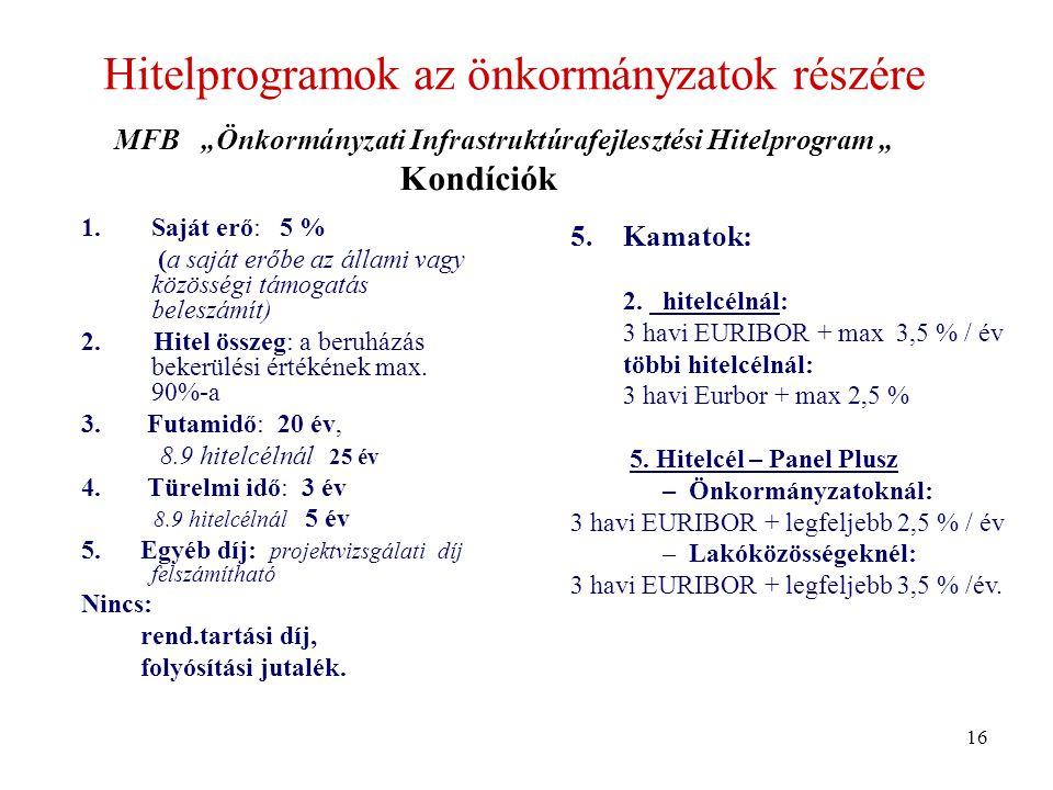 Hitelprogramok az önkormányzatok részére 1.Saját erő: 5 % (a saját erőbe az állami vagy közösségi támogatás beleszámít) 2.