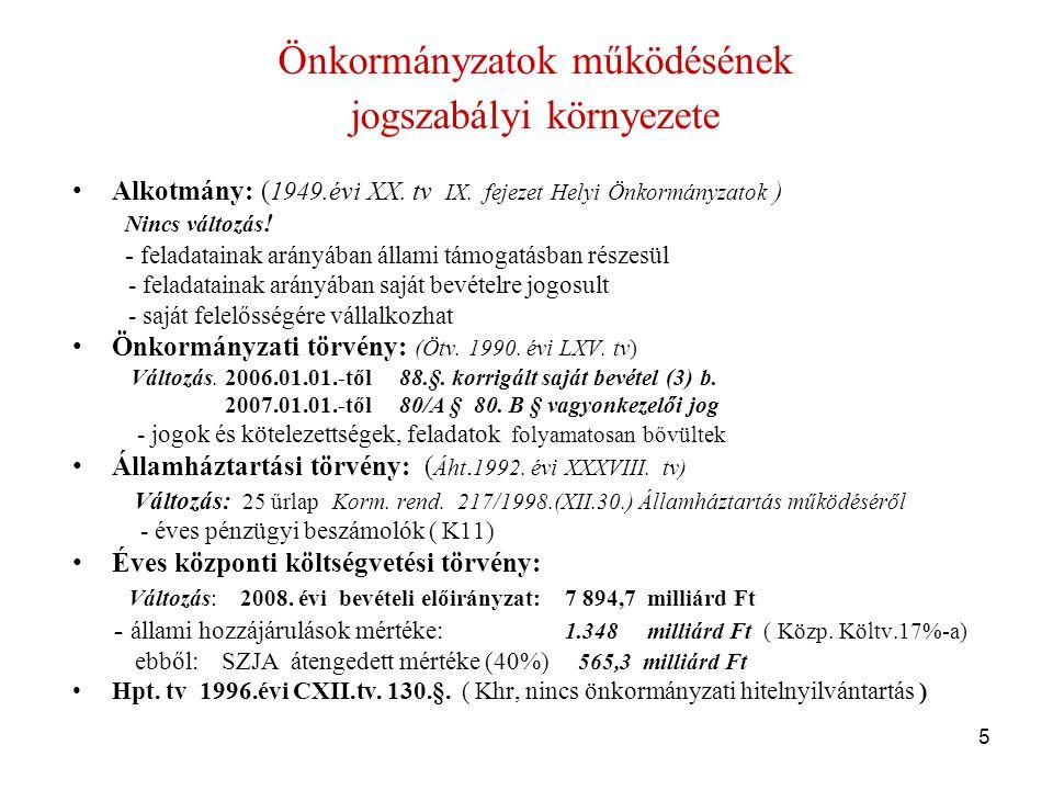 5 Önkormányzatok működésének jogszabályi környezete •Alkotmány: ( 1949.évi XX.