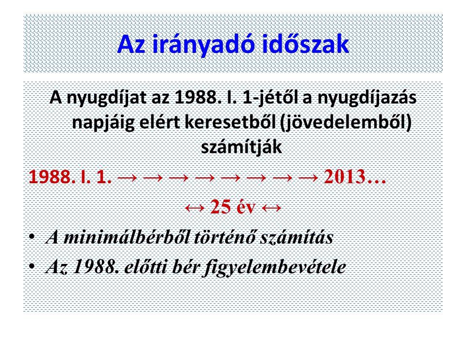 Az irányadó időszak A nyugdíjat az 1988. I. 1-jétől a nyugdíjazás napjáig elért keresetből (jövedelemből) számítják 1988. I. 1. → → → → → → → → 2013…