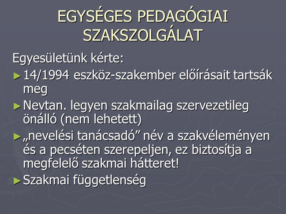 EGYSÉGES PEDAGÓGIAI SZAKSZOLGÁLAT Egyesületünk kérte: ► 14/1994 eszköz-szakember előírásait tartsák meg ► Nevtan. legyen szakmailag szervezetileg önál