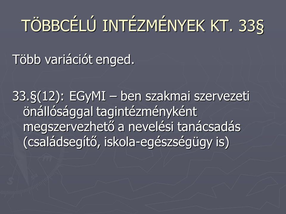 TÖBBCÉLÚ INTÉZMÉNYEK KT. 33§ Több variációt enged. 33.§(12): EGyMI – ben szakmai szervezeti önállósággal tagintézményként megszervezhető a nevelési ta