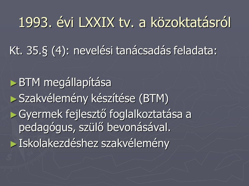 1993. évi LXXIX tv. a közoktatásról Kt. 35.§ (4): nevelési tanácsadás feladata: ► BTM megállapítása ► Szakvélemény készítése (BTM) ► Gyermek fejlesztő