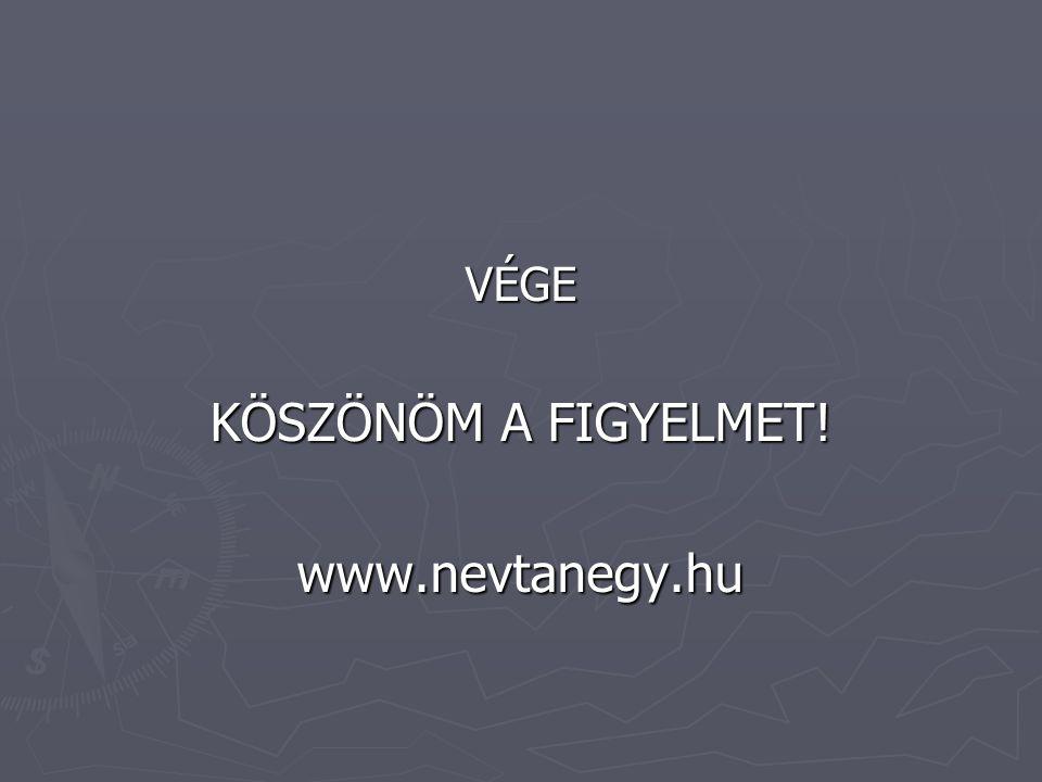 VÉGE KÖSZÖNÖM A FIGYELMET! www.nevtanegy.hu
