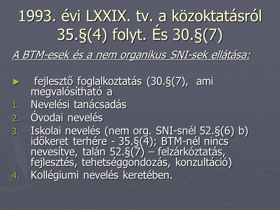 1993. évi LXXIX. tv. a közoktatásról 35.§(4) folyt. És 30.§(7) A BTM-esek és a nem organikus SNI-sek ellátása: ► fejlesztő foglalkoztatás (30.§(7), am