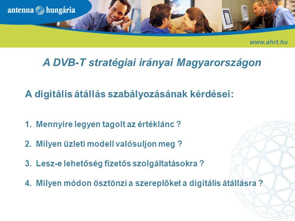 Az AH jelenlegi DVB-T rendszere www.ahrt.hu Az üzemszerű sugárzás elindítása – 2004.