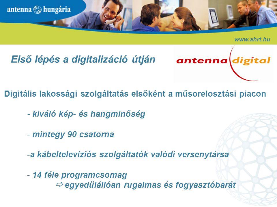 www.ahrt.hu Első lépés a digitalizáció útján Új high-tech szolgáltatások: - Elektronikus műsorkalauz (EPG) - Feltételes hozzáférés (CAS) - Üzletfejlesztési tervek: - Pay-per-view - HDTV - további értéknövelt szolgáltatások