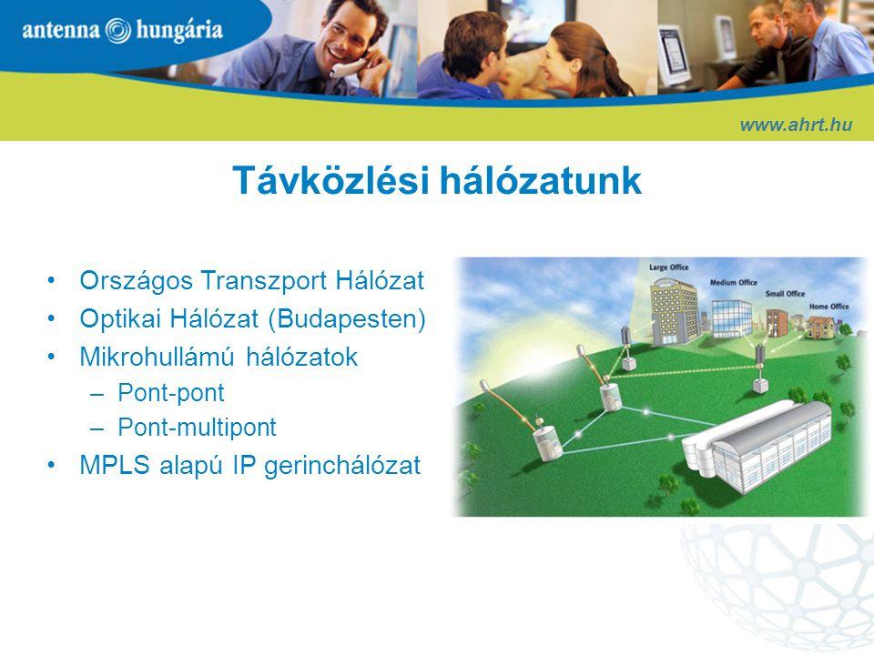 www.ahrt.hu Hálózat Üzemeltetési Központ •Végpontig felügyelt és menedzselt szolgáltatások •Korszerű hálózatirányítási központ (NOC) •24/7/365 rendelkezésre állás •Elektronikus hibajegy rendszer •Tartalékolt menedzsment rendszer