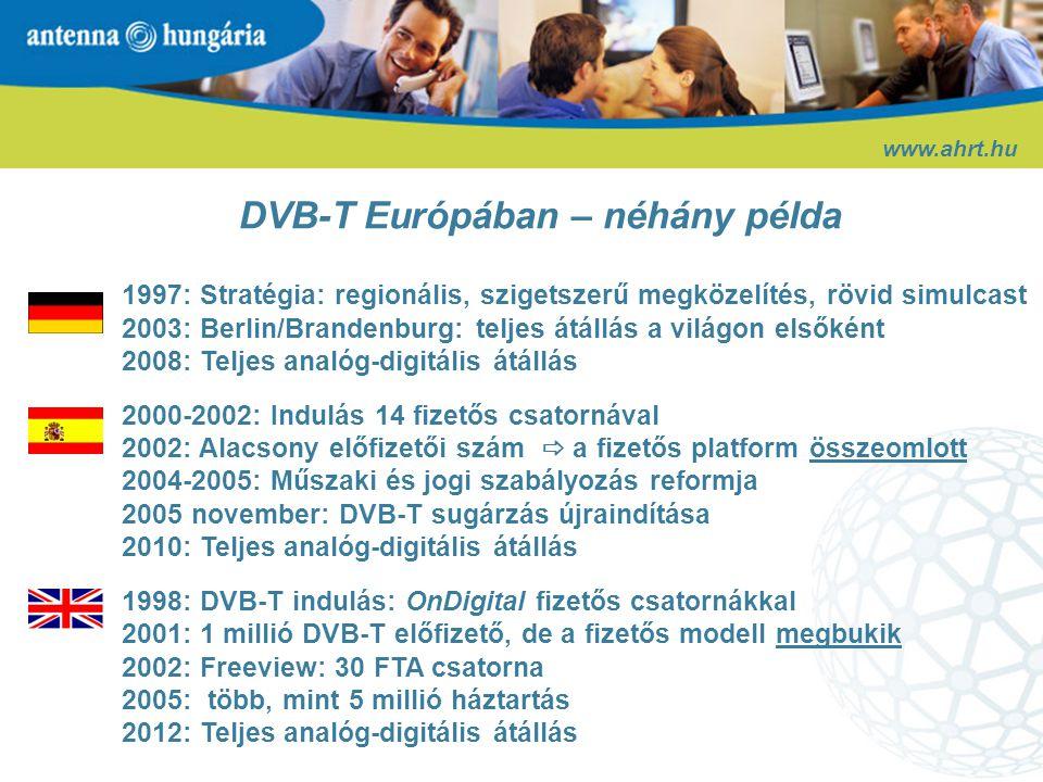 DVB-T Európában – néhány következtetés www.ahrt.hu 1.Ingyenes sugárzással induló platformok 2.A vegyes modellre (FTA+fizetős) való áttérés függ az előfizetők számától 3.Magyarországon jogi akadályok nehezítik a rövid simulcast időszakot 4.Szigetszerű modell  látványos eredmények
