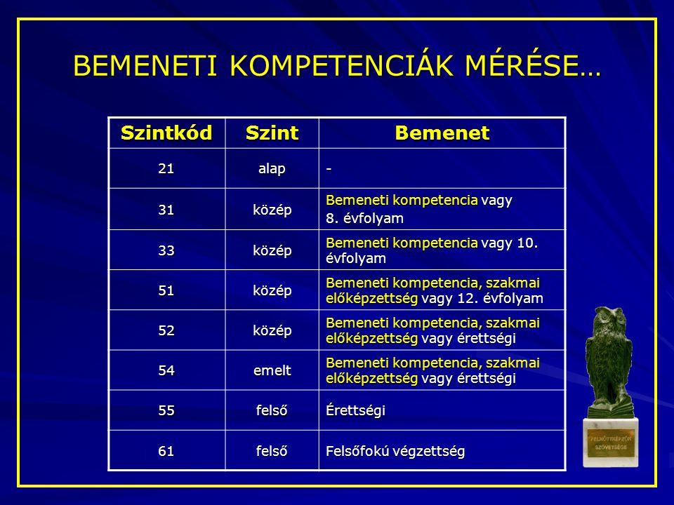 SzintkódSzintBemenet 21alap- 31közép Bemeneti kompetencia vagy 8. évfolyam 33közép Bemeneti kompetencia vagy 10. évfolyam 51közép Bemeneti kompetencia