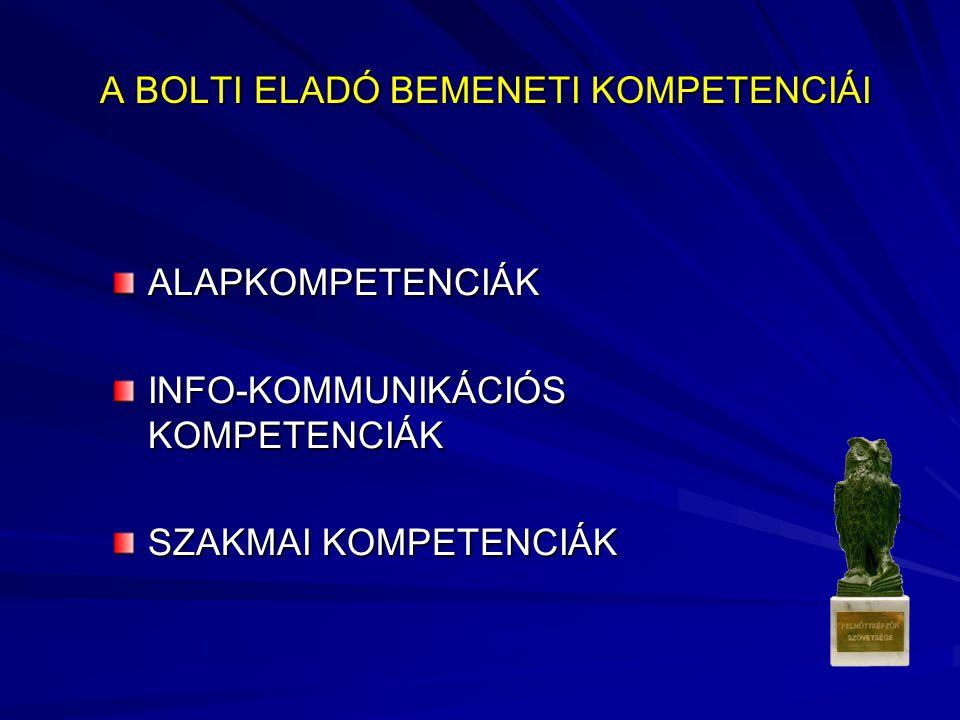 A BOLTI ELADÓ BEMENETI KOMPETENCIÁI A BOLTI ELADÓ BEMENETI KOMPETENCIÁI ALAPKOMPETENCIÁK INFO-KOMMUNIKÁCIÓS KOMPETENCIÁK SZAKMAI KOMPETENCIÁK