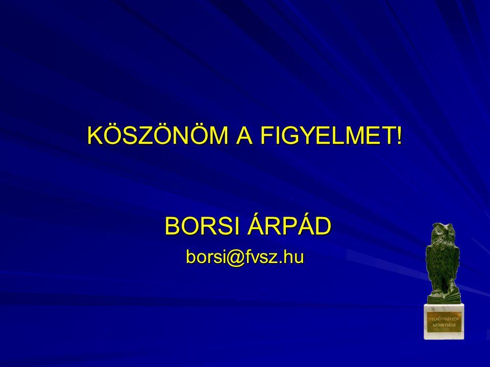 KÖSZÖNÖM A FIGYELMET! BORSI ÁRPÁD BORSI ÁRPÁDborsi@fvsz.hu