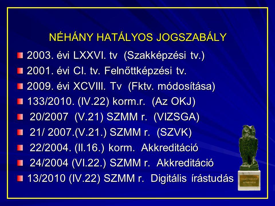 NÉHÁNY HATÁLYOS JOGSZABÁLY 2003. évi LXXVI. tv (Szakképzési tv.) 2001. évi CI. tv. Felnőttképzési tv. 2009. évi XCVIII. Tv (Fktv. módosítása) 133/2010
