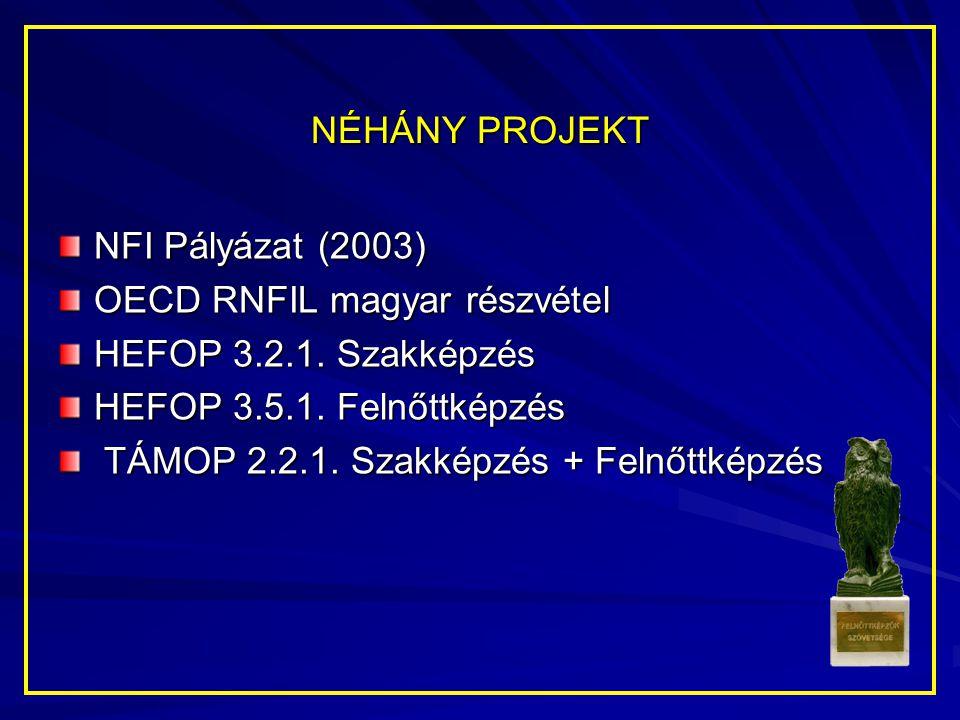 NÉHÁNY PROJEKT NFI Pályázat (2003) OECD RNFIL magyar részvétel HEFOP 3.2.1. Szakképzés HEFOP 3.5.1. Felnőttképzés TÁMOP 2.2.1. Szakképzés + Felnőttkép