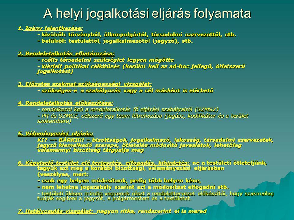 Ötv.szerinti kötelező rendeletalkotási tárgykörök- elmulasztása mulasztásos törvénysértés 1.