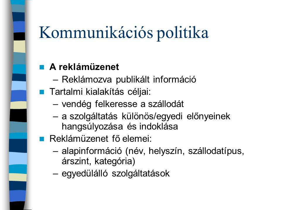 Kommunikációs politika  Szlogenek –Hotel Kálvária: Ékszerdoboz a városban.