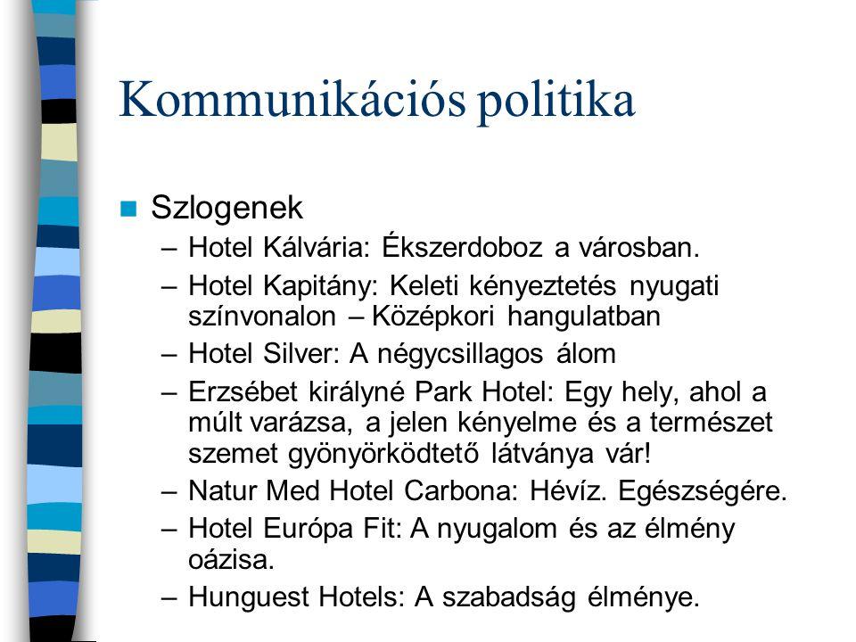 Kommunikációs politika  Szlogenek –Hotel Kálvária: Ékszerdoboz a városban. –Hotel Kapitány: Keleti kényeztetés nyugati színvonalon – Középkori hangul
