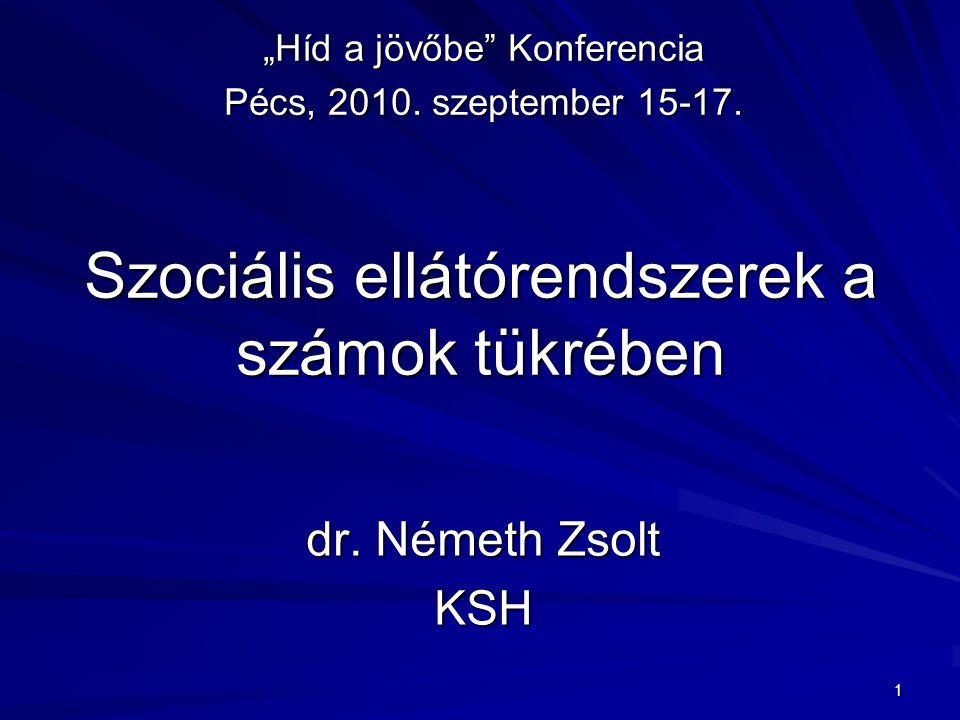 """1 Szociális ellátórendszerek a számok tükrében dr. Németh Zsolt KSH """"Híd a jövőbe"""" Konferencia Pécs, 2010. szeptember 15-17."""