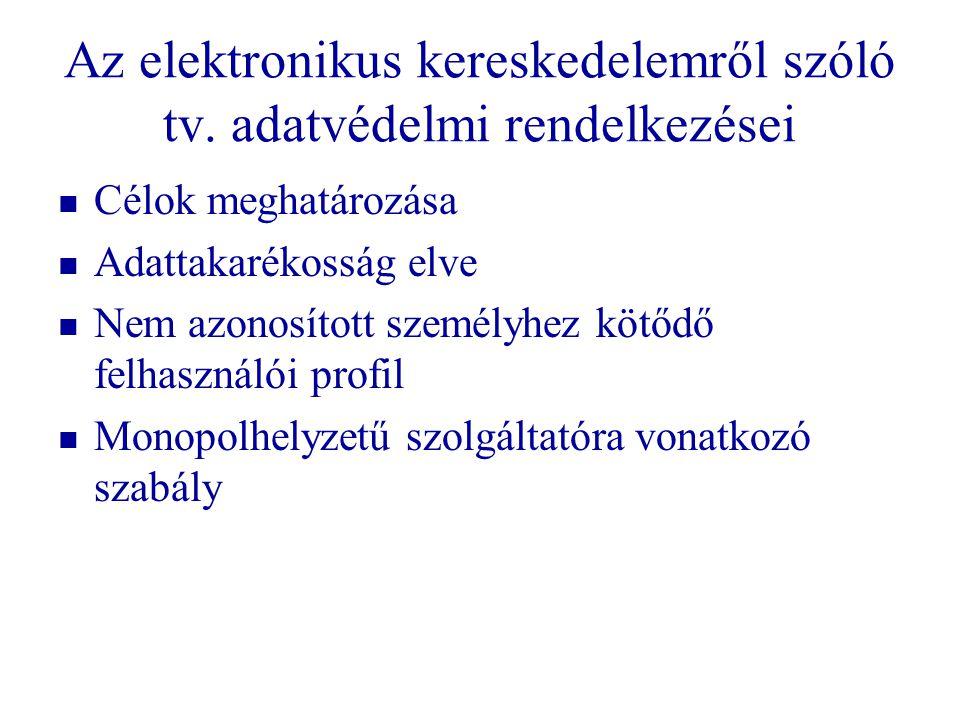 Az elektronikus kereskedelemről szóló tv. adatvédelmi rendelkezései   Célok meghatározása   Adattakarékosság elve   Nem azonosított személyhez k