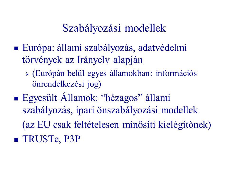 Szabályozási modellek   Európa: állami szabályozás, adatvédelmi törvények az Irányelv alapján   (Európán belül egyes államokban: információs önren