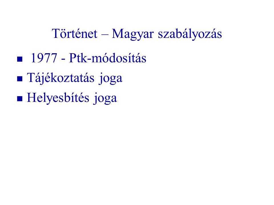 Történet – Magyar szabályozás   1977 - Ptk-módosítás   Tájékoztatás joga   Helyesbítés joga