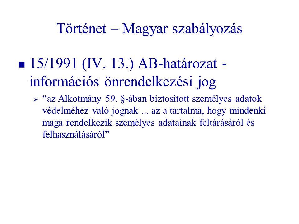 """Történet – Magyar szabályozás   15/1991 (IV. 13.) AB-határozat - információs önrendelkezési jog   """"az Alkotmány 59. §-ában biztosított személyes a"""