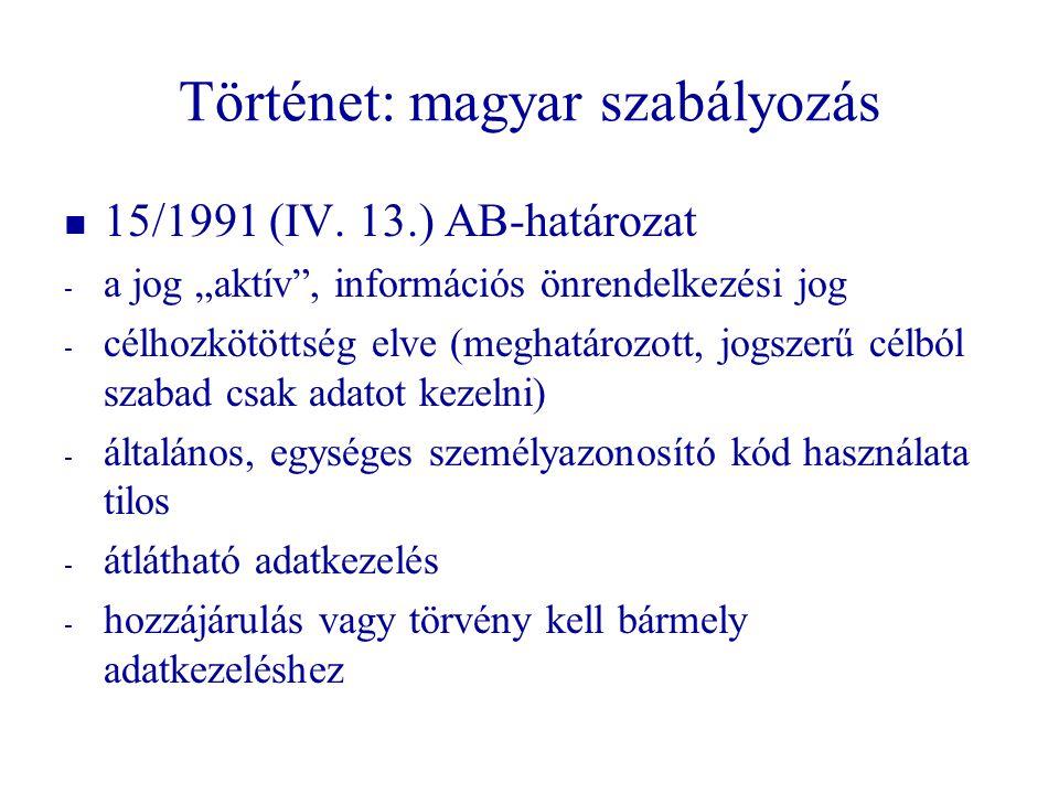 """Történet: magyar szabályozás   15/1991 (IV. 13.) AB-határozat - - a jog """"aktív"""", információs önrendelkezési jog - - célhozkötöttség elve (meghatároz"""