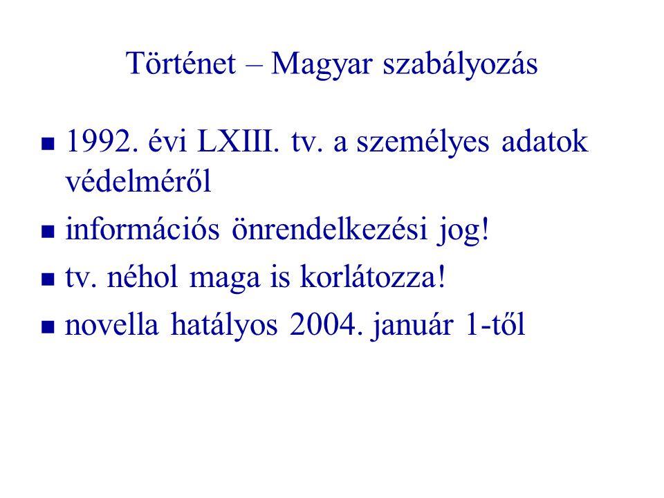 Történet – Magyar szabályozás   1992. évi LXIII. tv. a személyes adatok védelméről   információs önrendelkezési jog!   tv. néhol maga is korláto