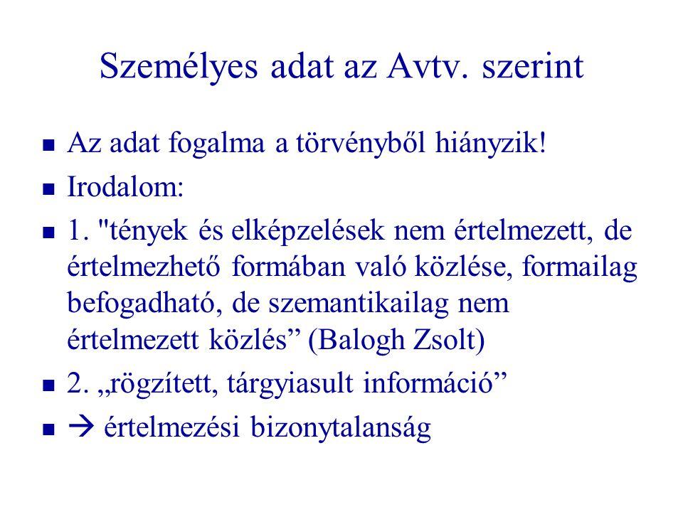 Személyes adat az Avtv. szerint   Az adat fogalma a törvényből hiányzik!   Irodalom:   1.