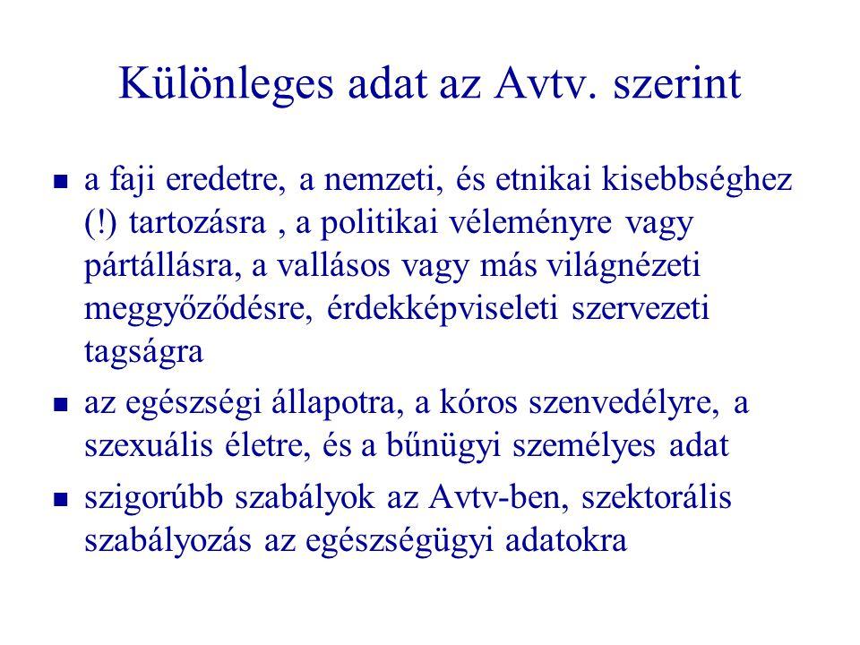 Különleges adat az Avtv. szerint   a faji eredetre, a nemzeti, és etnikai kisebbséghez (!) tartozásra, a politikai véleményre vagy pártállásra, a va