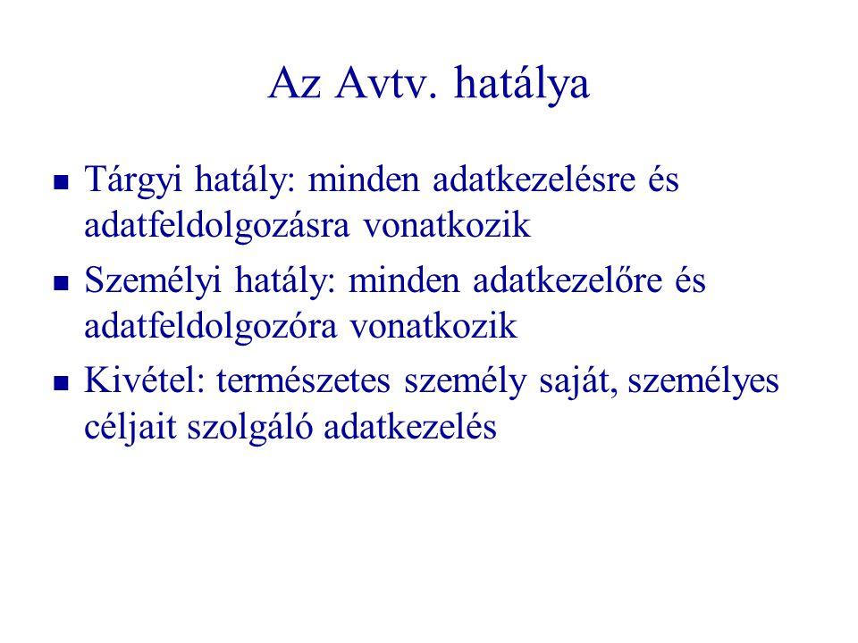 Az Avtv. hatálya   Tárgyi hatály: minden adatkezelésre és adatfeldolgozásra vonatkozik   Személyi hatály: minden adatkezelőre és adatfeldolgozóra
