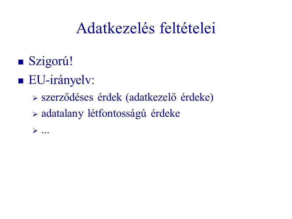 Adatkezelés feltételei   Szigorú!   EU-irányelv:   szerződéses érdek (adatkezelő érdeke)   adatalany létfontosságú érdeke  ...