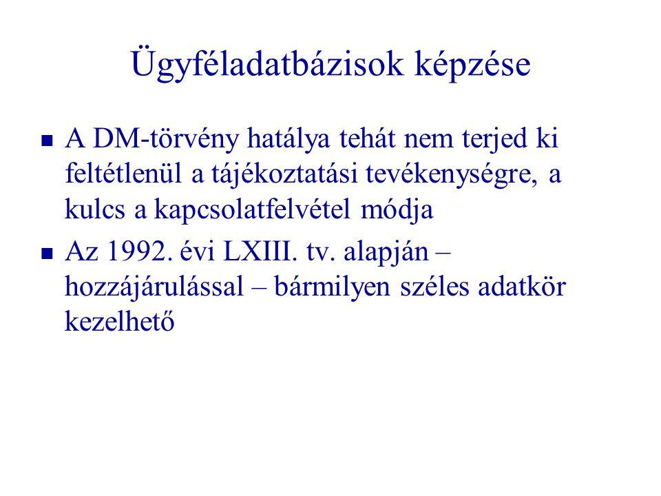 Ügyféladatbázisok képzése   A DM-törvény hatálya tehát nem terjed ki feltétlenül a tájékoztatási tevékenységre, a kulcs a kapcsolatfelvétel módja 