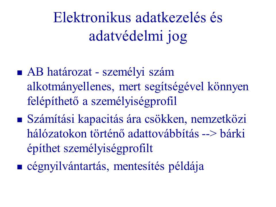 Elektronikus adatkezelés és adatvédelmi jog   AB határozat - személyi szám alkotmányellenes, mert segítségével könnyen felépíthető a személyiségprof