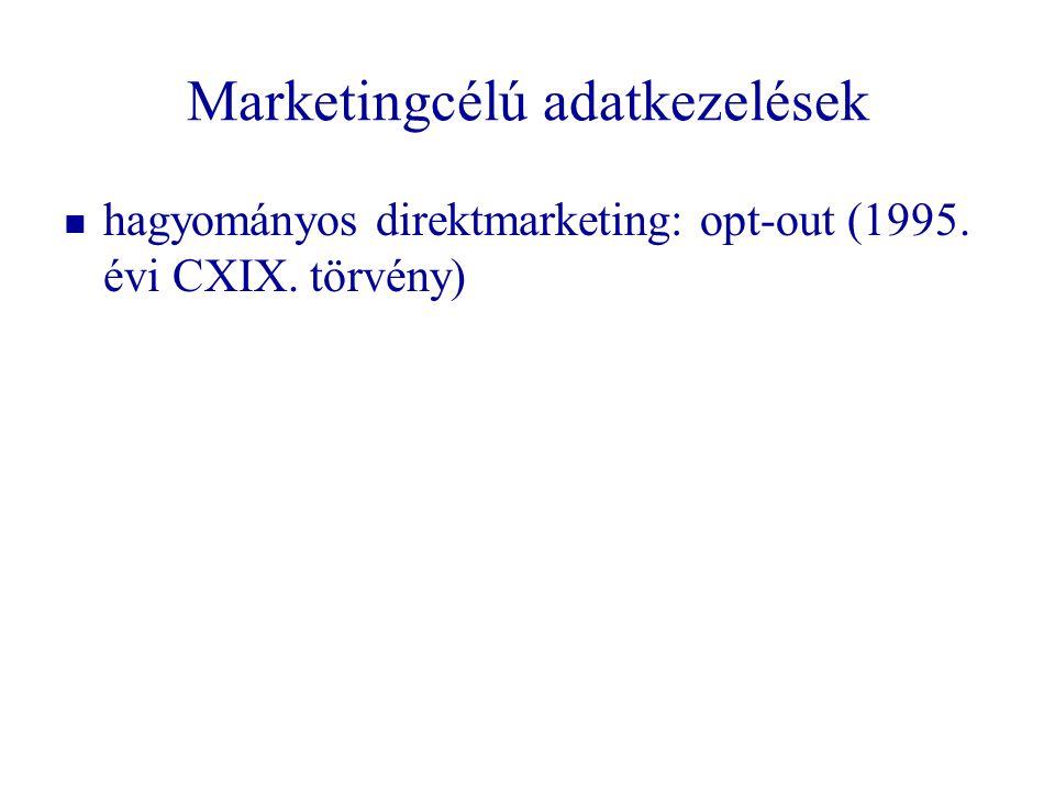 Marketingcélú adatkezelések   hagyományos direktmarketing: opt-out (1995. évi CXIX. törvény)